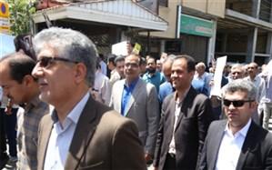 حضور گسترده و پرشور فرهنگیان و دانش آموزان استان چهارمحال وبختیاری در راهپیمایی روز جهانی قدس